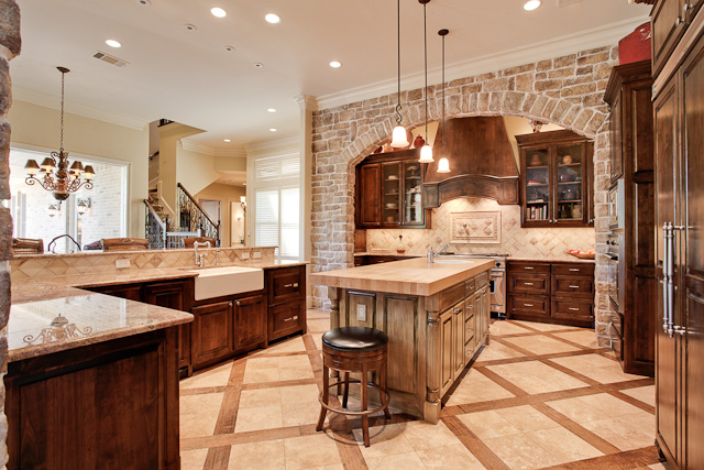 Kitchen with tile floors