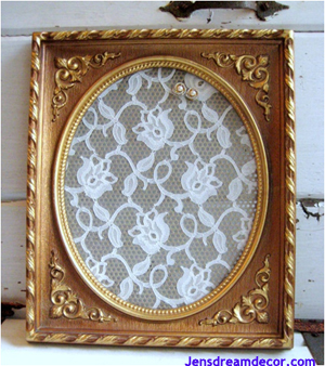 Lace from wedding dress framed