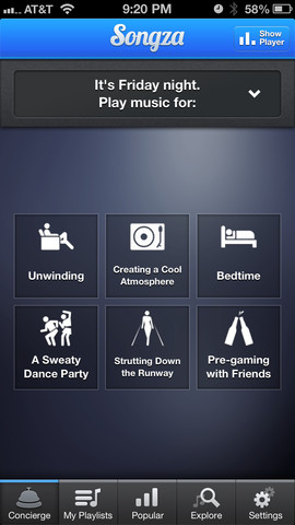 songza screen 5 Great Home Apps for the Holidays