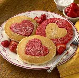 heartshapedpancakes 300x297 Valentines Day is only a week away so get ready with   11 Breakfast In Bed Ideas for Valentines Day
