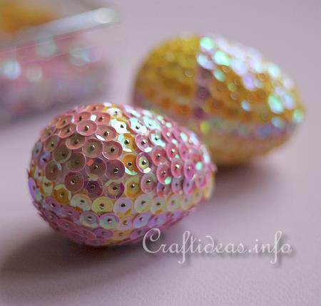 Sequin Easter Eggs Check out Craft Ideas for instructions
