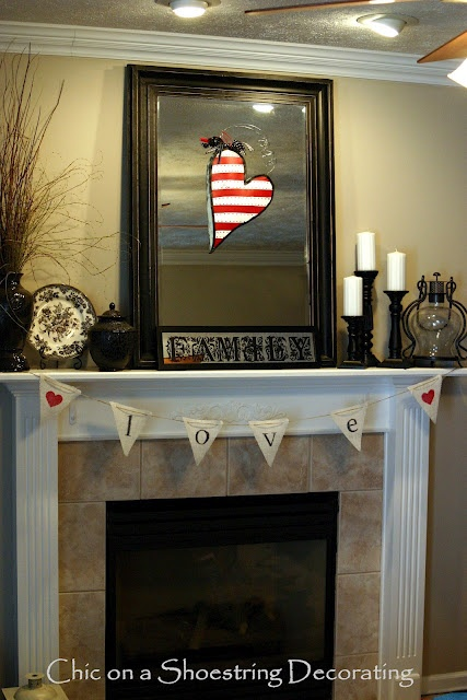 mantle1 14 Lovely Valentines Day Decorating Ideas