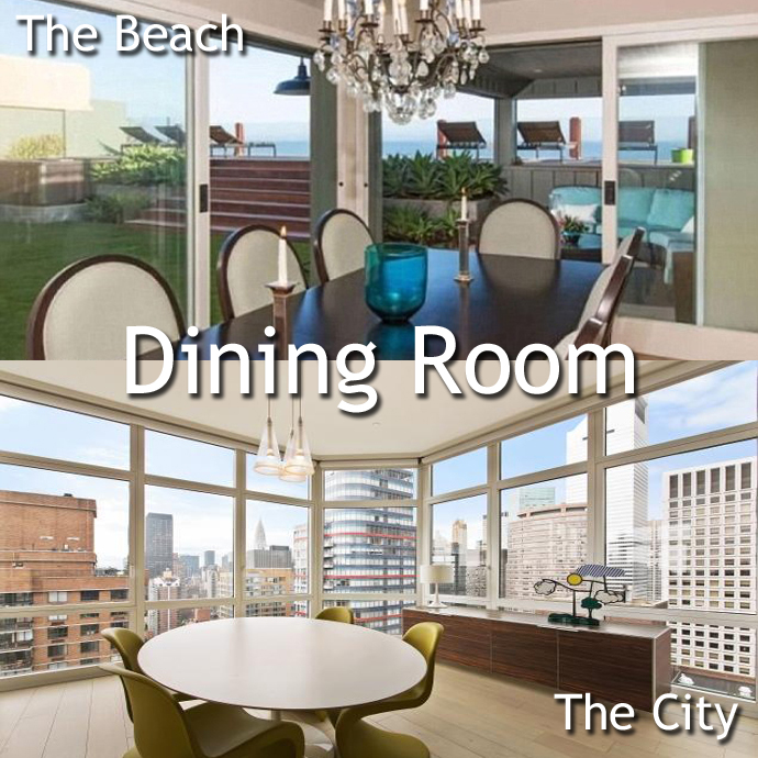 Dining Room Malibu vs. Manhattan: A Leonardo DiCaprio Home Showdown