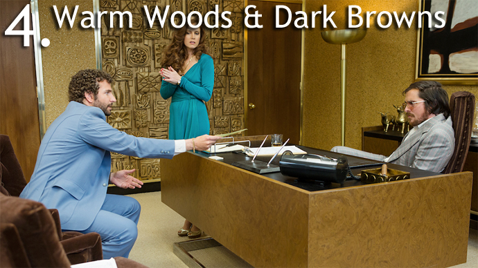 Warm Woods and Dark Browns 5 Design Trends from American Hustle