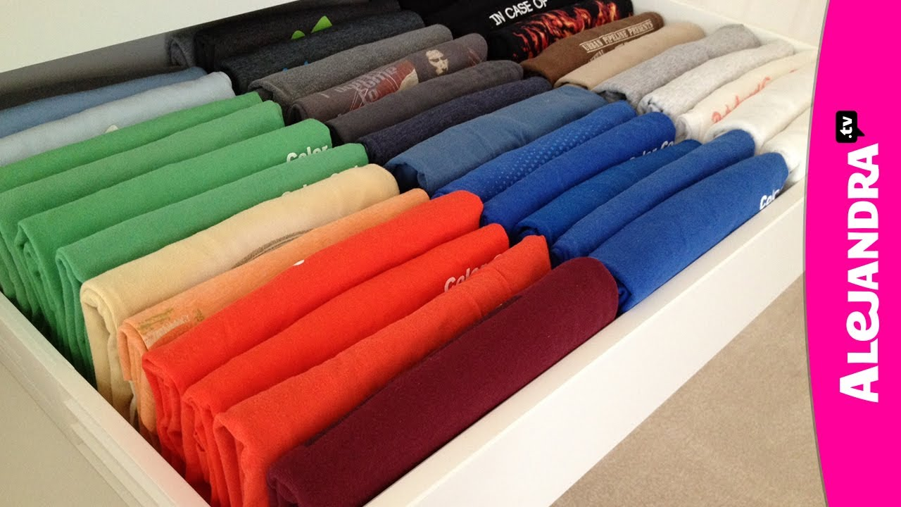 How to organize your t shirt drawer coldwell banker blue for Best way to pack shirts