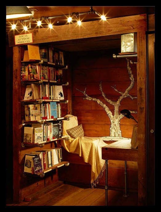 A treehouse library makes reading an adventure.