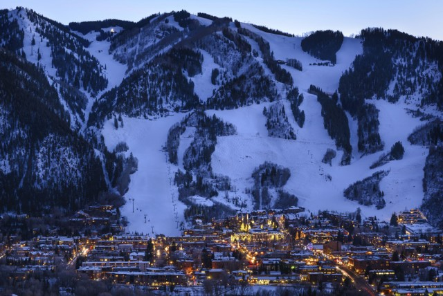 Aspen Colorado Town and Ski Slopes at Dusk