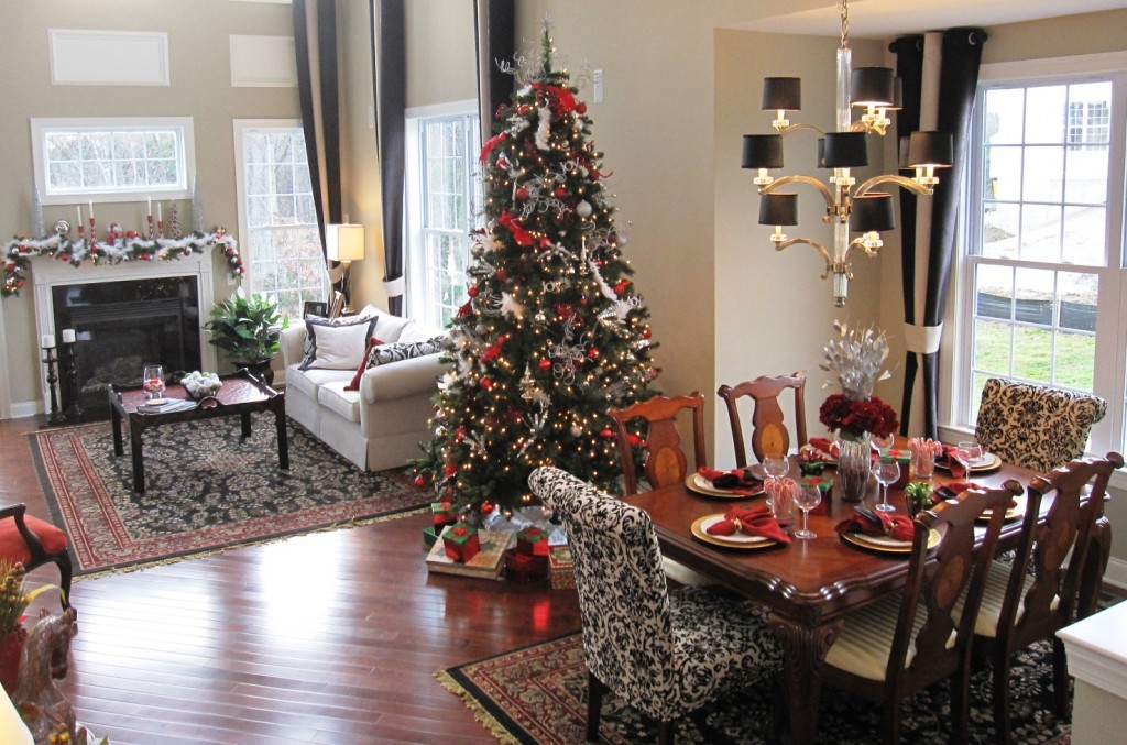 Home decorated for the holidays by PJ & Company Staging and Interior Decorating