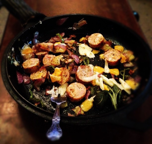 sauteed food in cast iron pan