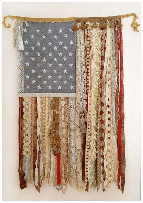 This Beautiful Lace Ribbon Flag Would Be Perfect For A Rustic Touch To A Country Home