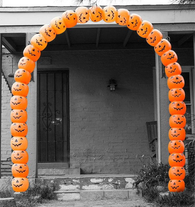 create an impressive archway from plastic pumpkin buckets