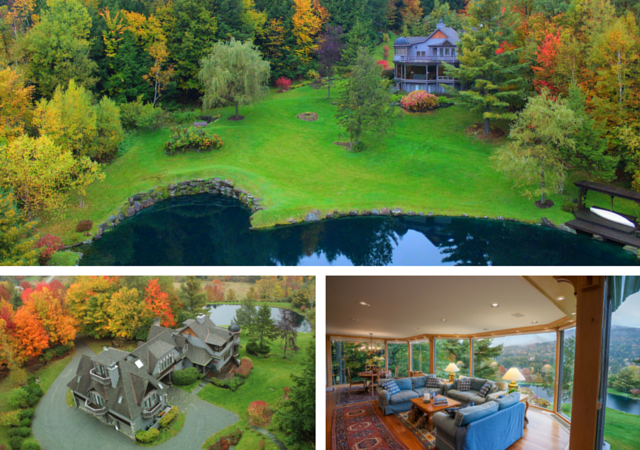 This Stowe, VT property is so stunning, it's almost poetic. In fact, the listing description reads like a poem! A mountain view of green and golds A story that unfolds. Of clear water pond and jumping trout, Children leaping in and out...Check out the full thing (and see more photos!) here.