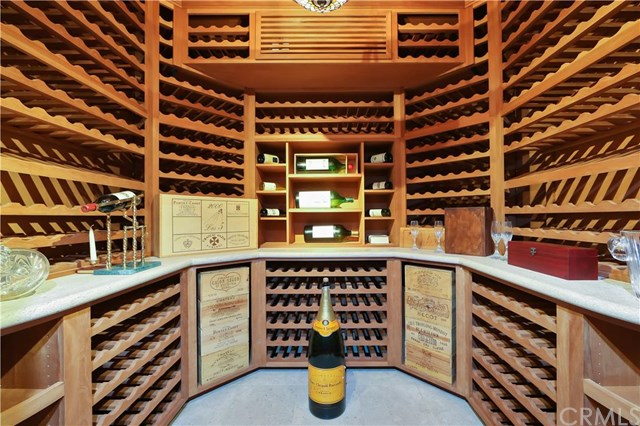 The 1,000+ bottle wine cellar in this Laguna Beach, CA property listed by Timothy Smith with Coldwell Banker Residential Brokerage is perfect for an oenophiles extensive collection and is almost a work of art.