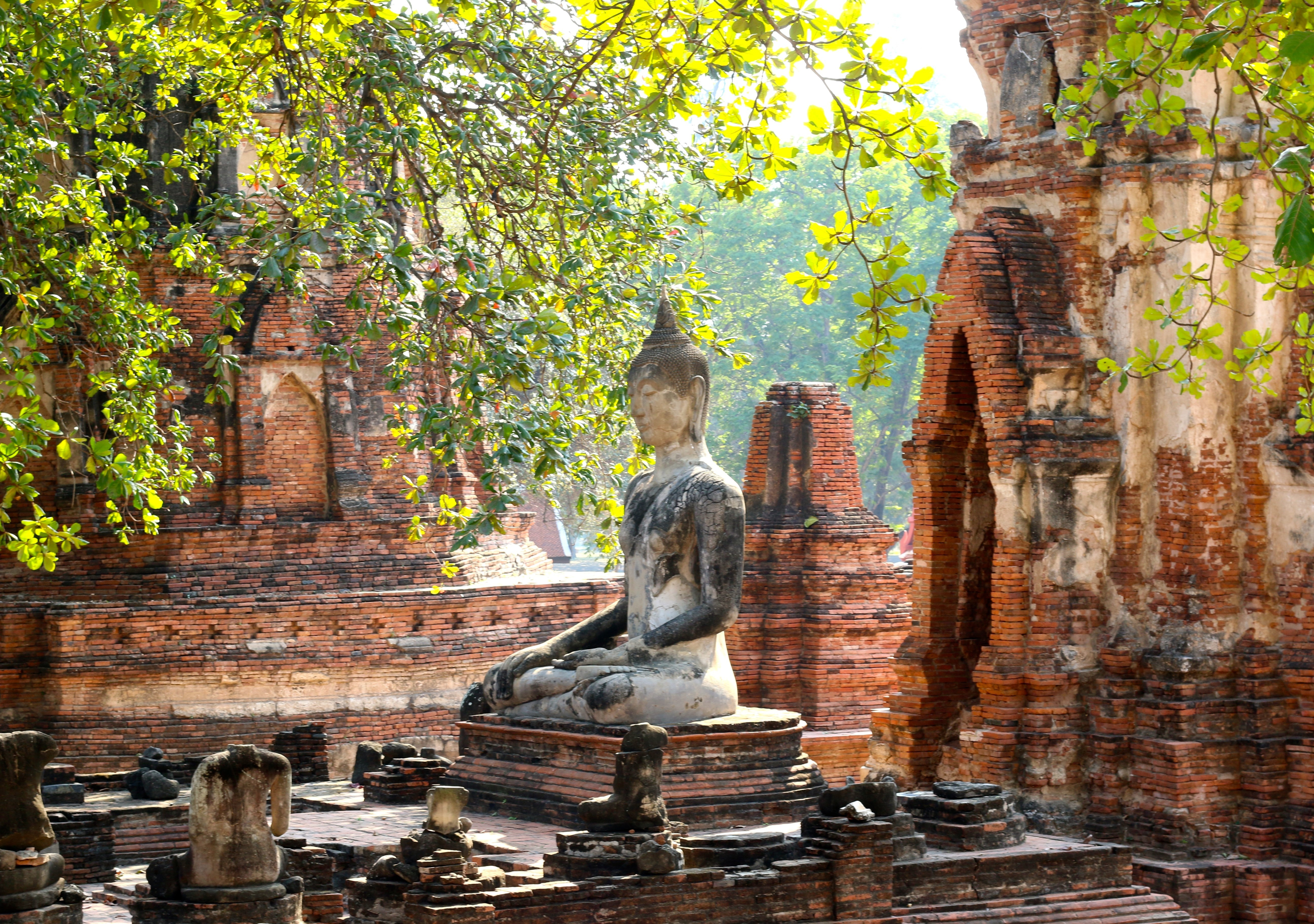 The ruins at Wat Mahathat in Ayutthaya, Thailand