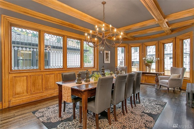 The wood detailing, bright windows and beautiful gray color palette make this a unique space to share a meal. The dining room is only one of the magnificent rooms in this Mercer Island, WA home listed by Don Samuelson with Coldwell Banker BAIN.