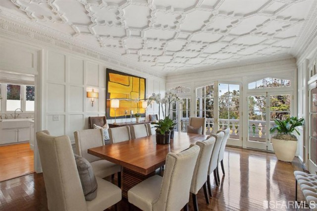 Check out the ceiling detail and tapered french doors in this masterpiece of a dining space. This is only one work of art in this masterpiece of a home located in San Francisco, currently listed by Malin Giddings with Coldwell Banker Residential Brokerage.