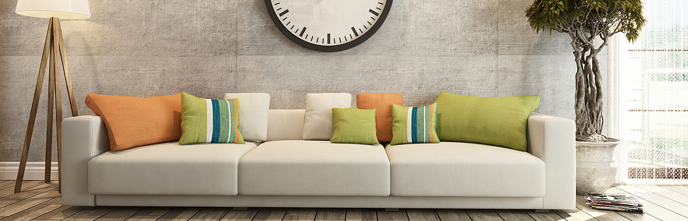 Living Room With Big Watch On Concrete Wall 3D Rendering
