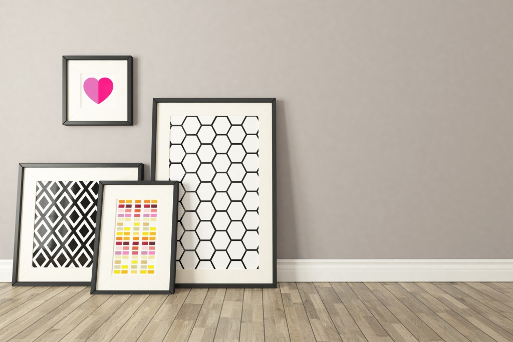 Blank picture frames with wall and wooden parquet decor, background, template design