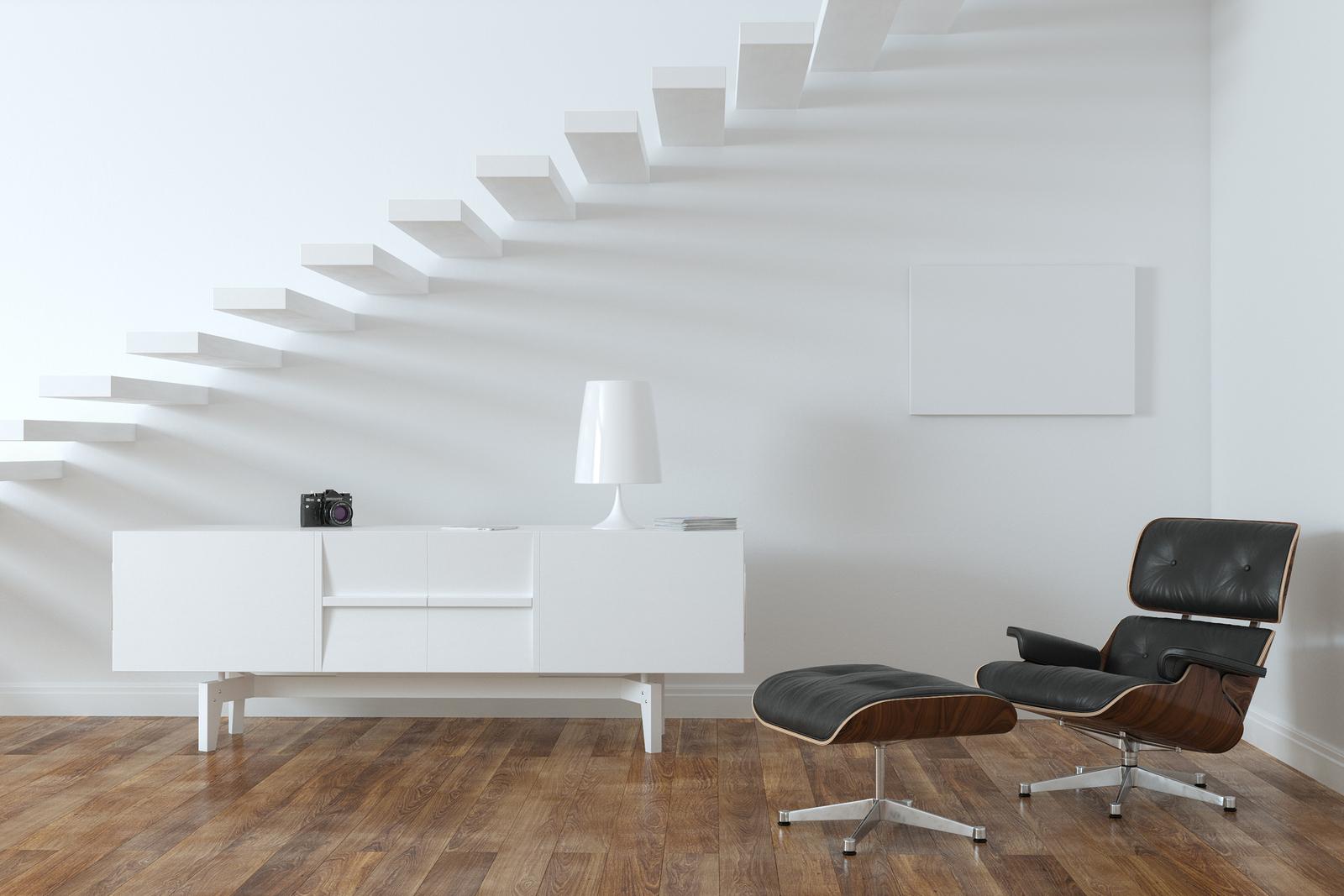 White Lounge Minimalistic Room With Upstairs (luxury interior)