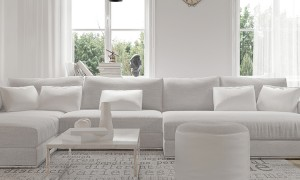 Modern spacious lounge or living room interior with monochromatic white furniture and decor below th