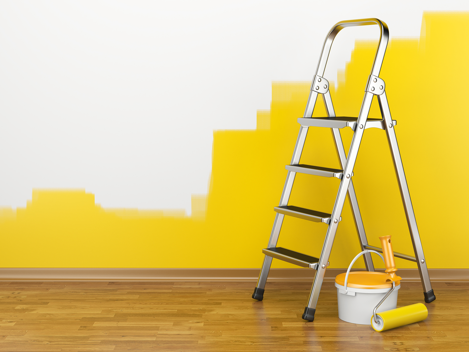 Home Improvement. Ladder paint can and paint roller near a wall of yellow colour. 3d illustration