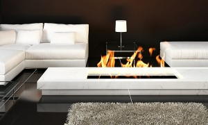 Modern Living room with white couch and fireplace