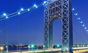 The George Washington Bridge spans the Hudson River from Fort Lee, New Jersey to the Washington Heig