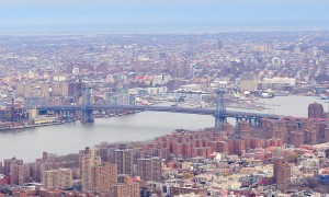 Brooklyn skyline Arial view from New York City Manhattan with Williamsburg Bridge  over East River a