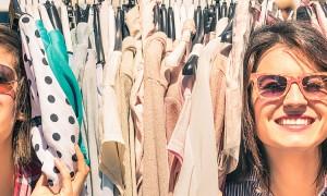 Young Beautiful Women At Flea Cloth Market - Best Friends Sharing Free Time Having Fun Shopping