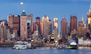 Moonrise Over Midtown West With Manhattan Skyline, New York City