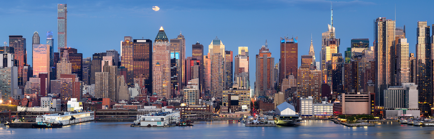 Moonrise Over Midtown West With Manhattan Skyline, New York City