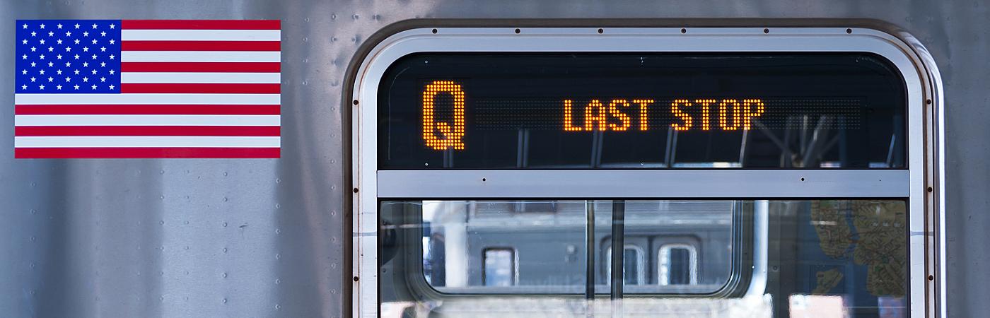 New York City Q train detail, last stop