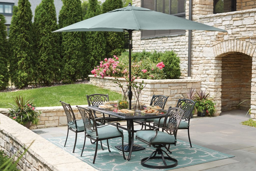A drab outdoor space can quickly be transformed with the right patio  umbrella and accessories  Maybe you don t love your patio furniture  but  don t have the  Which of These Patio Umbrellas is Right For Your Home    Coldwell  . Patio Furniture With Umbrellas. Home Design Ideas